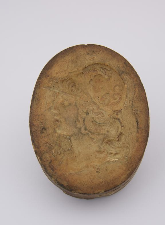 Plaster mould, Minerca, head and neck facing R. oval 3  x 2 1/4''