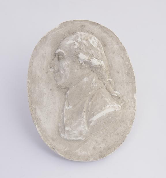 Plaster cast, oval 3 3/4 x 2 7/8''