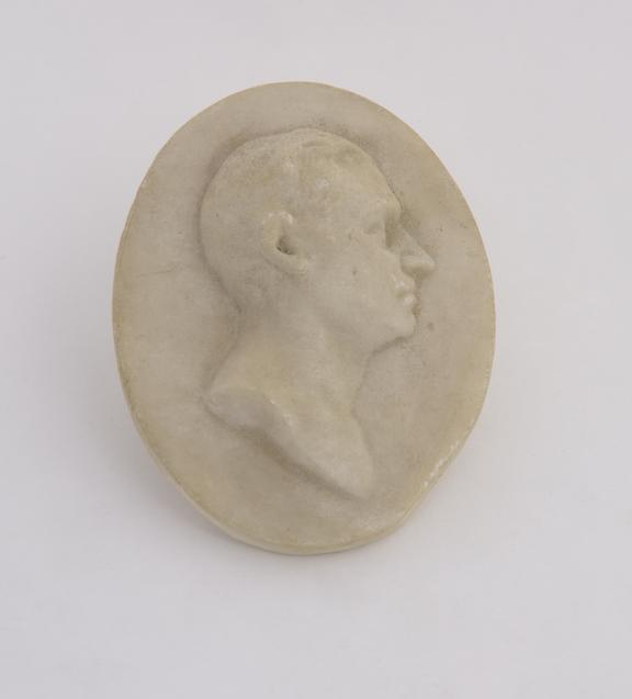 1 Reproduction in alabaster, marked on back Jany 10 1810 Bergman', oval 3 5/8' x 2 3/4''