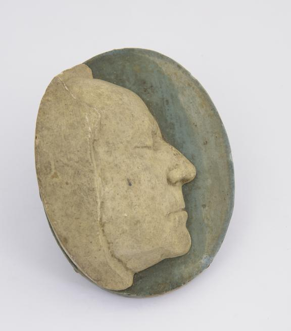 Plaster cast, No 37 base painted blue, oval 3 3/4 x 3''