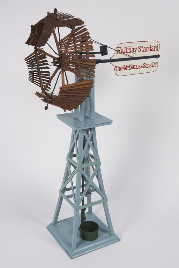 working model (scale 1:12) of Halliday's 1877 Standard' self-regulating windmill, arranged for pumping, invented 1854.'
