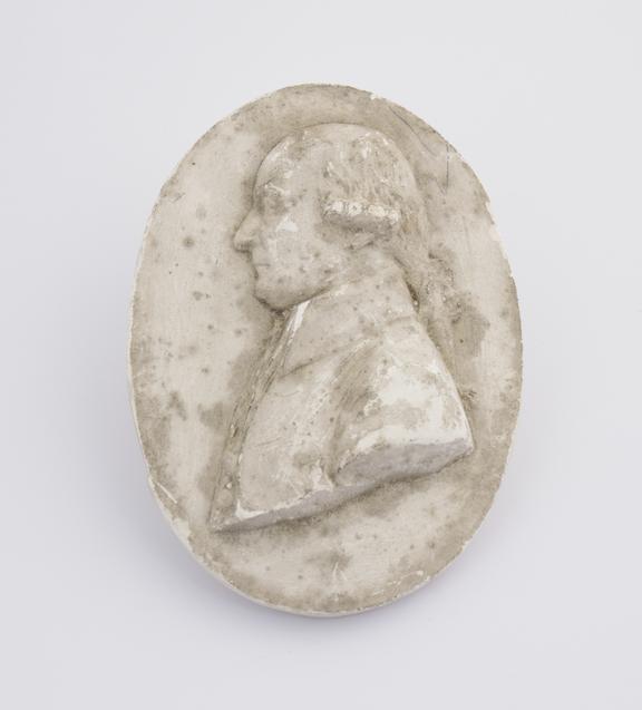 Plaster cast, No. 78 marked on back J.W', oval 3 7/8' x 2 7/8''