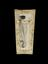 Metal fleam, with rounded blade. From a bone fleam case, intricately carved with representation of the crucifixion and