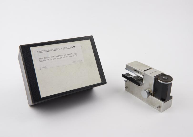 McArthur portable microscope, model No.7, metal, with condenser, iris objectives, eyepiece, mirror and fine focus, used