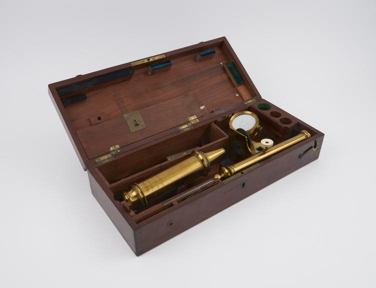 Achromatic Perfectionne' microscope by Vincent Chevalier and Son, in case, with 1 brass box and 1 pair hand forceps'