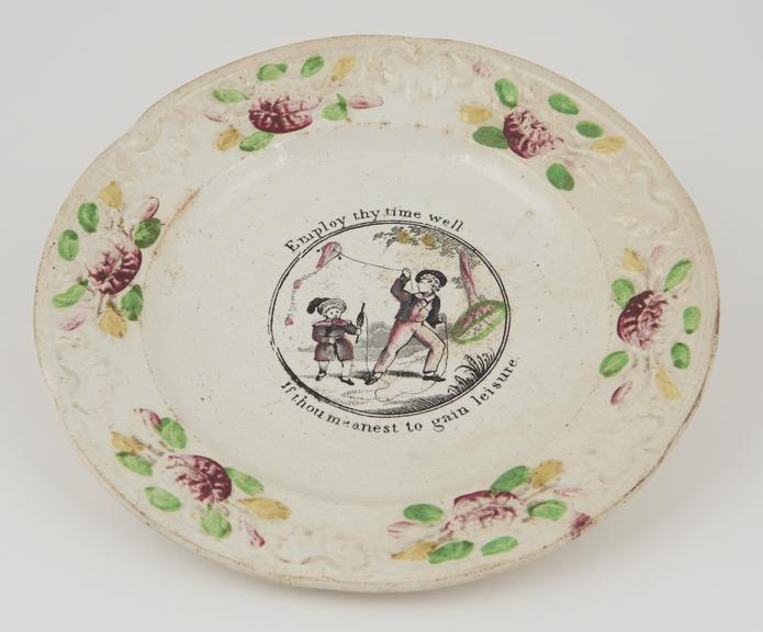 One plate, embossed edge, polychrome.   8 1/4.   Boys flying kite.   Inscription: 'Employ thy time well if thou meanest