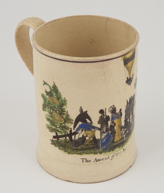 One Sunderland mug, 6 x 4 1/4', inscribed 'The Ascent of the Aerial'.   Manufactury of Philips & Co, Sunderland.