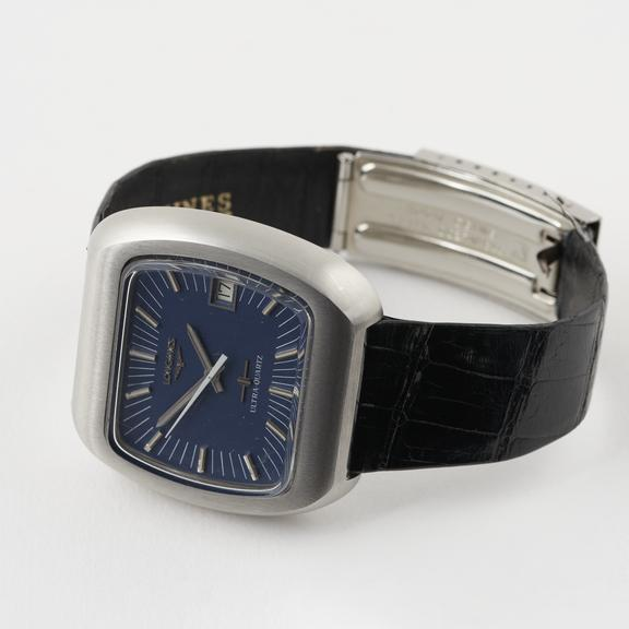 Ultraquartz Cybernetic' quartz analogue wristwatch by Longines, Switzerland, c.1969. With seconds hand and date