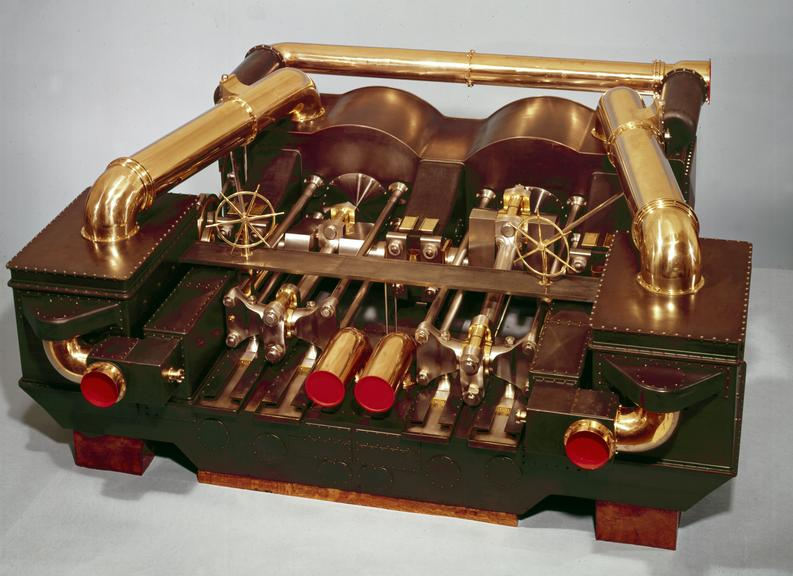 """Model screw-engines of H.M. turret-ship """"Monarch"""" 1868. From a colour transparency in the Science Museum Photographic"""