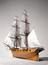 """Whole model of H.M. Gun-brig """"Fantome"""" built 1838-9. (Model rigged in museum in 1902-3). From a colour transparency in"""