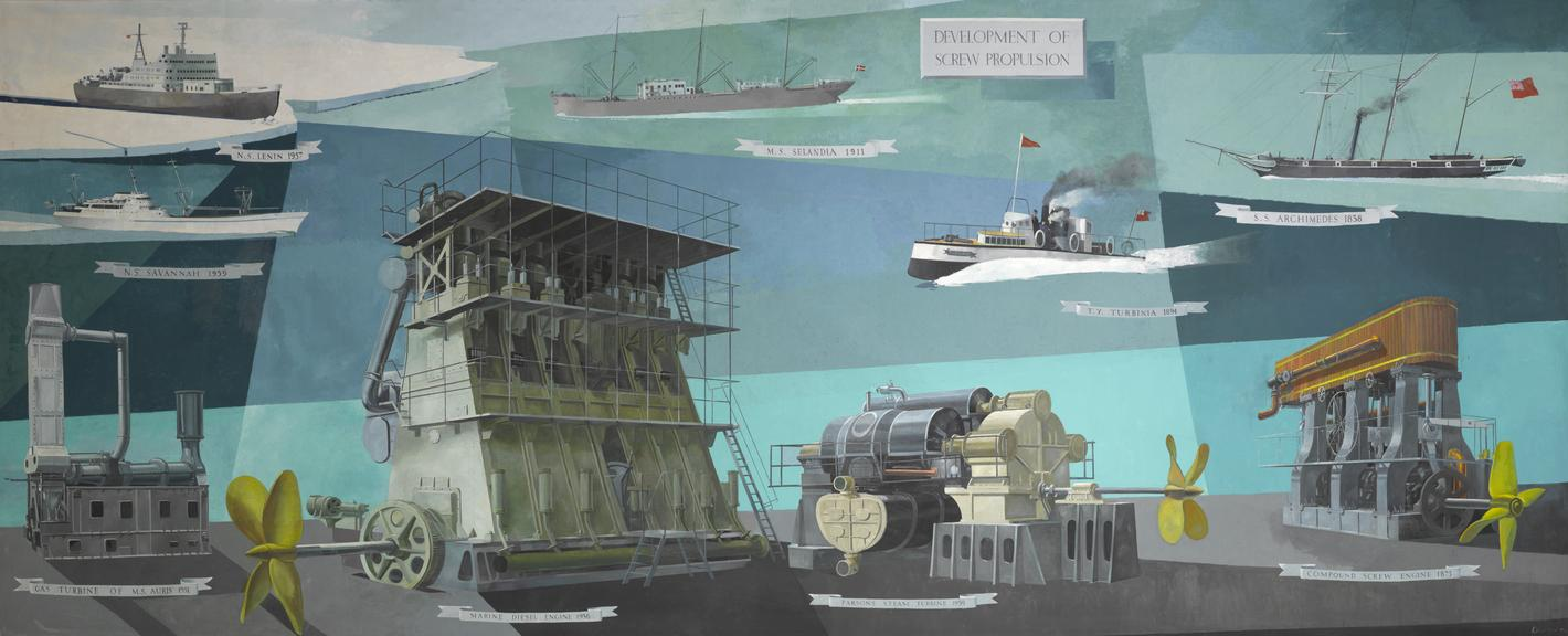 Painting. Development of Screw Propulsion, by Louis Duffy, 1966. Oil on canvas, 8x24ft.  Nine items representing