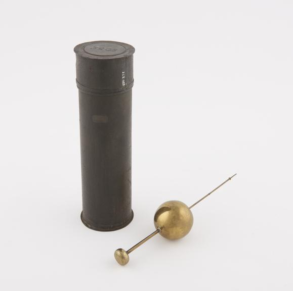 Early Sikes' hydrometer 6 1/2 long, stamped Sikes 2 with 11 weights, in original cylindrical tin case, c. 1802'
