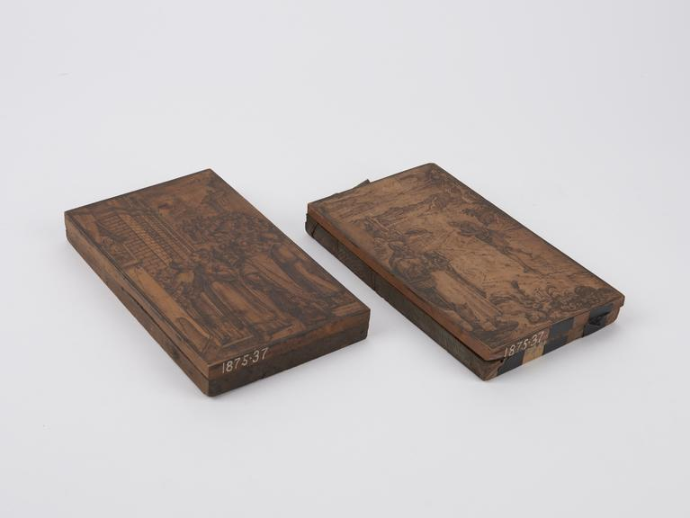 wooden printing block for printing playing cards.