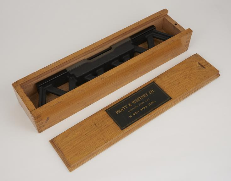 15 Pratt and Whitney precision hand level in a wooden box.'