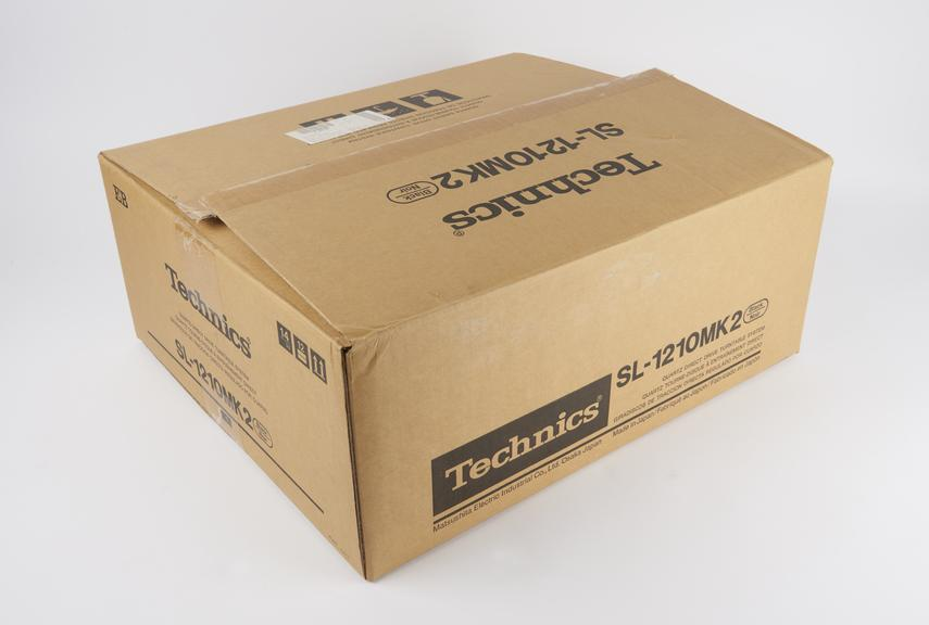 Cardboard box for a Technics SL-1210 Mk2 mode quartz synthesizer direct-drive turntable, by Panasonic, Osaka, Japan,