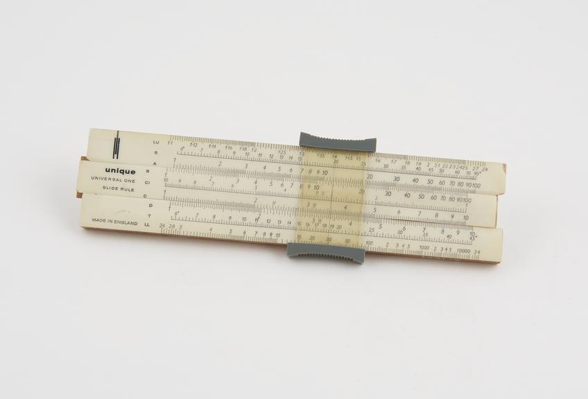 Unique' 7-inch slide rule, model Universal I, with cursor, made in England'