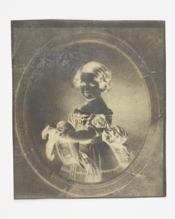 Calotype negative by William Henry Fox Talbot, copy of a portrait of a child.