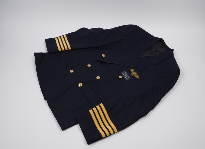 Pilot's Navy Blue jacket size 38 chest and made from 55% polyester and 45% wool, with gold braid decoration to indicate