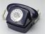 Jubilee Telephone, royal blue, 2S/A 4271 FWB 77/1 (2004-113), sitting on wall mounting unit (2004-114). Three quarter
