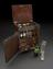 Medicine chest with a few contents, including various preparations, medicine glass and mortar and pestle, belonged to