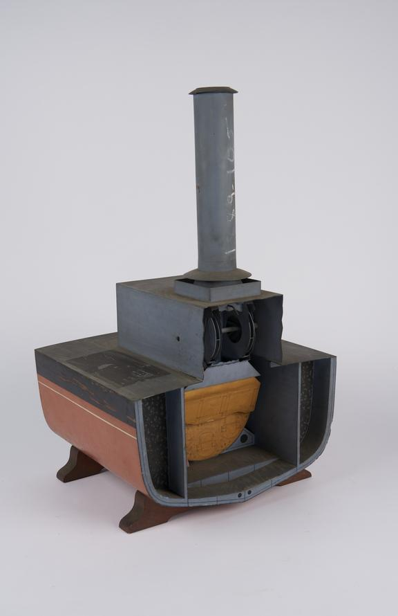 model, scale 1:12, (1/2=1') illustrating the forced draught arrangements of W.A. Marten, 1885, for marine steam boilers'