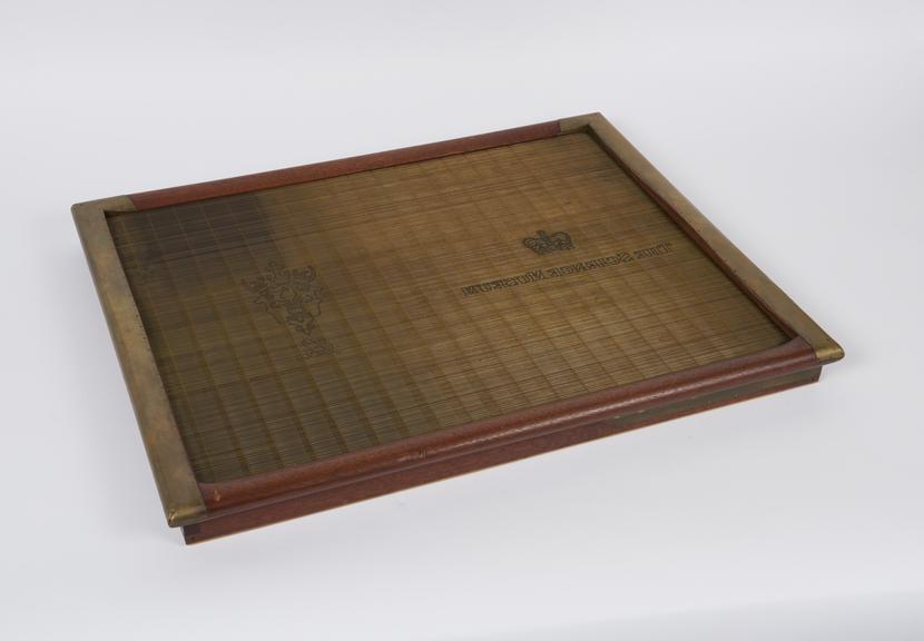 Single sheet medium (22 x 17') mould for hand made paper known as 'laid', with deckle, serial number X 9559, 1801-1910.'
