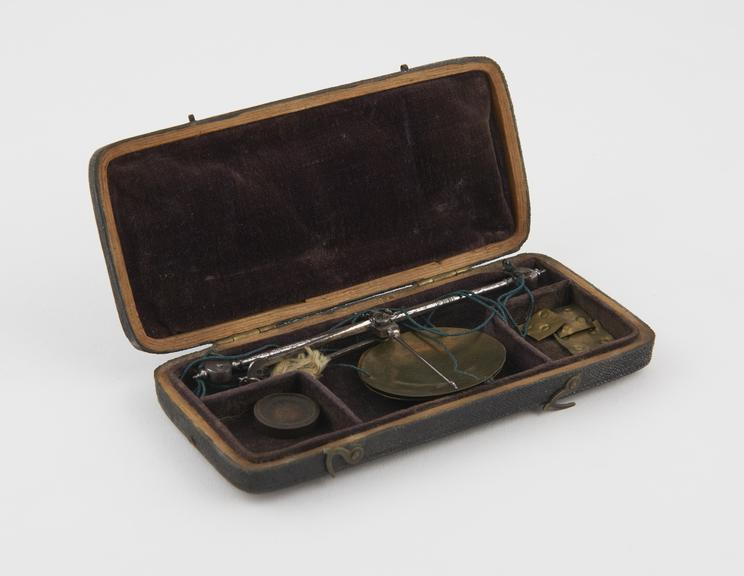 Money Scales (c.1820), in sharkskin case, 5 3/4x2 1/2'x3/4''