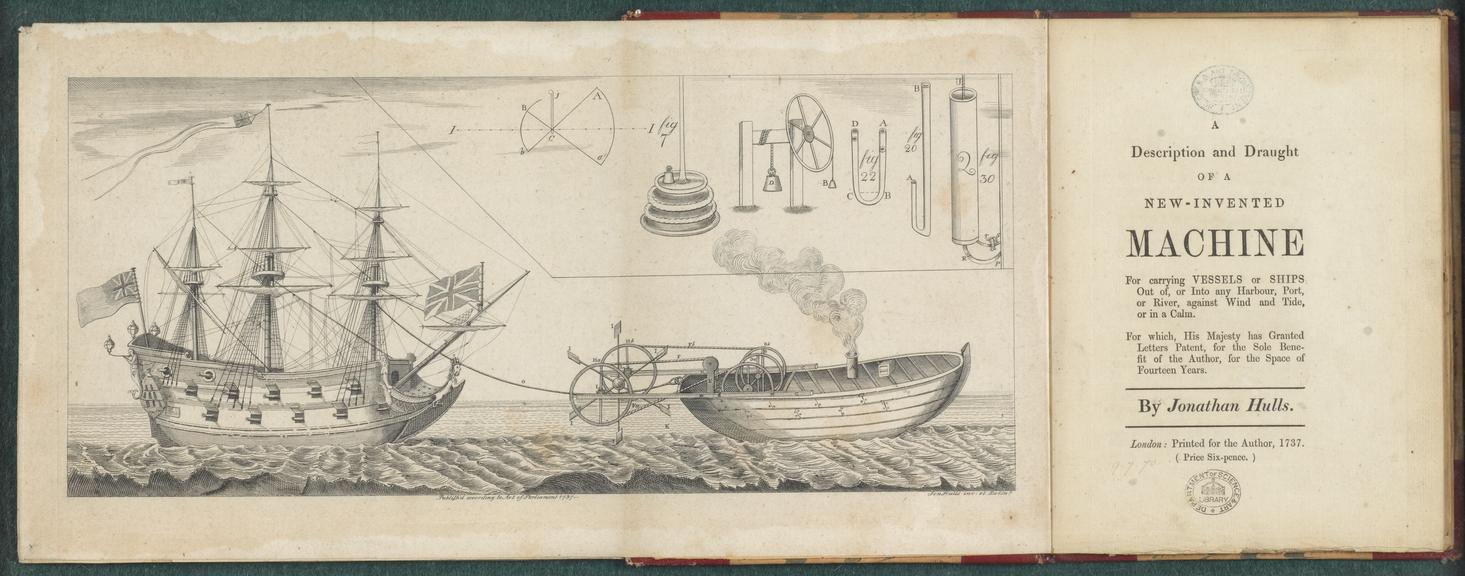 Bound, volume small 4 o being a reprint of a description published in 1737 of a machine invented by Jonathan Hulls for