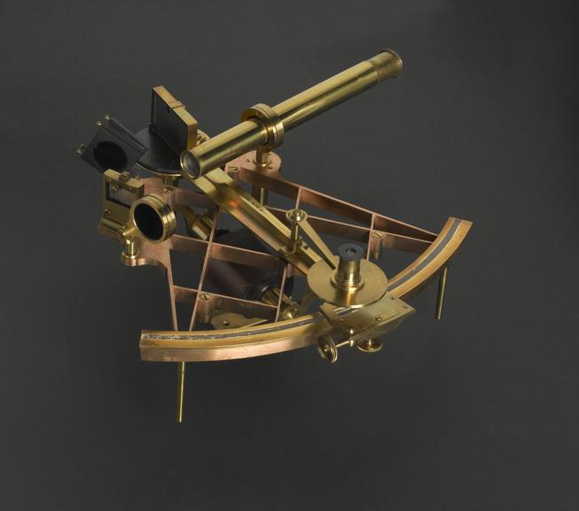 Sextant made by Edward Troughton and William Simms, London, about 1840. Polished brass diamond-pattern frame and