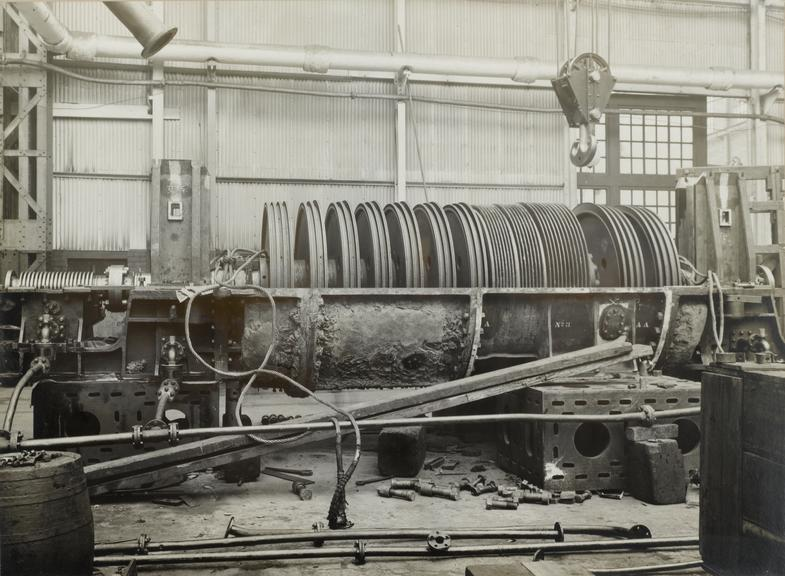 """Photograph, one of five, illustrating turbines of H.M.S. """"Bristol""""."""