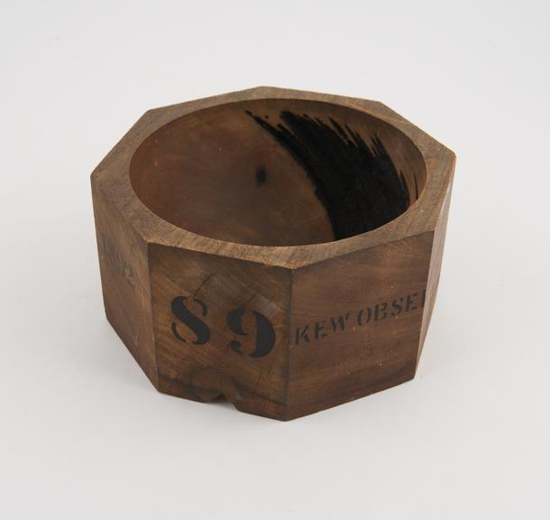 Campbell type sunshine recorder bowl, for June ? December 1892, unsigned, 1891.  From Kew Observatory.