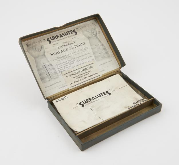 Carton containing Surfasutes' emergency surface sutures, English, first half of 20th century'