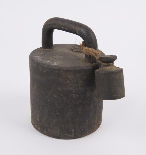 One of three sets metric commercial weights from W?rttemberg, 1859, comprising :-  3 cylindrical weights of iron, 25.10