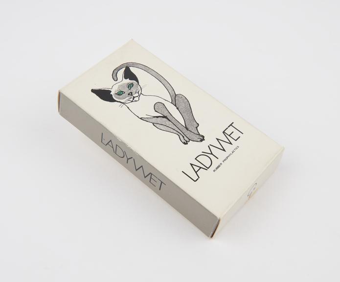 Carton  for 'Ladywet' condoms, Japanese, 1970s.