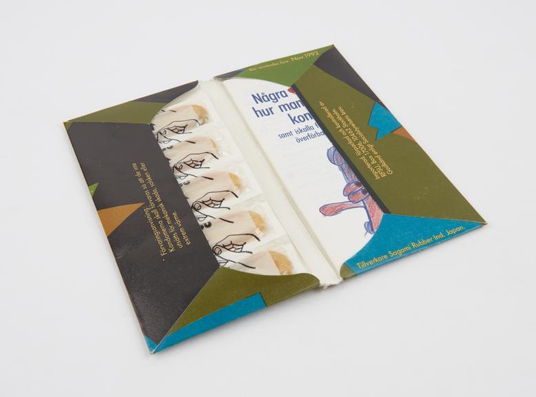 Packet of 5 Komm an da' condoms, Swedish, 1992.'