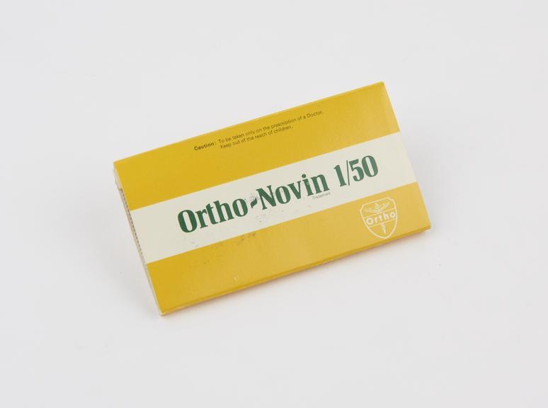Ortho-Novin 1/50packet of contraceptive pills by Ortho Pharmaceutical Ltd.; British, (?), 1976-1977