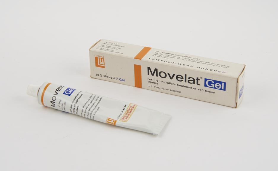 Boxed sample tube of Movelat Gel' by Luitpold-Werk, Germany'