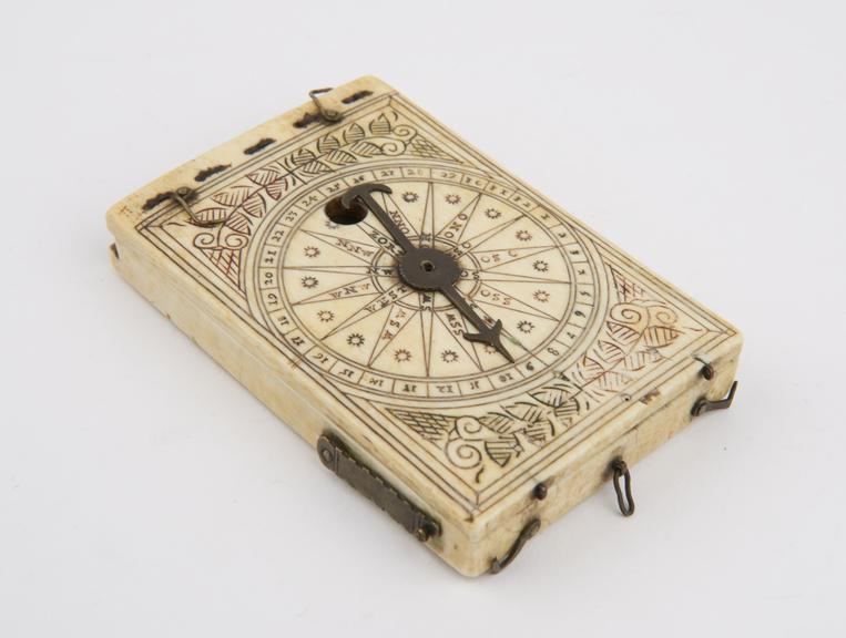 Tablet Sundial of ivory, 3 1/2x2 1/2''