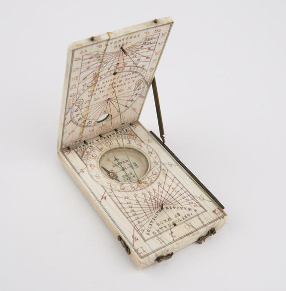 Tablet Sundial of ivory, 4 1/8x2 1/2', Hans Troschel, 1616'