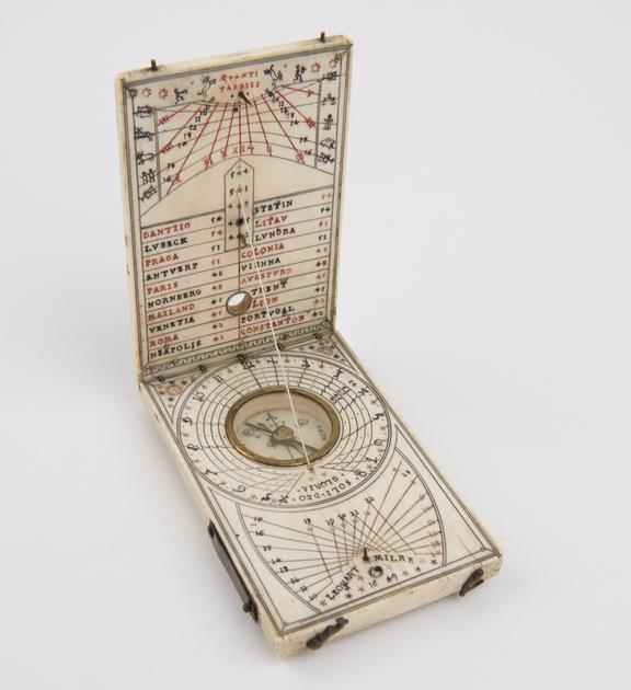 Tablet Sundial, ivory, 4 1/8x2 5/8', Leonart Milre (Leonhart Miller), 1649'