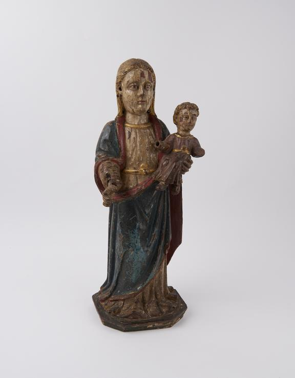 Carved wooden fugure of Virgin Mary with infant Christ, general patroness of the sick, possibly Spanish or Portuguese,