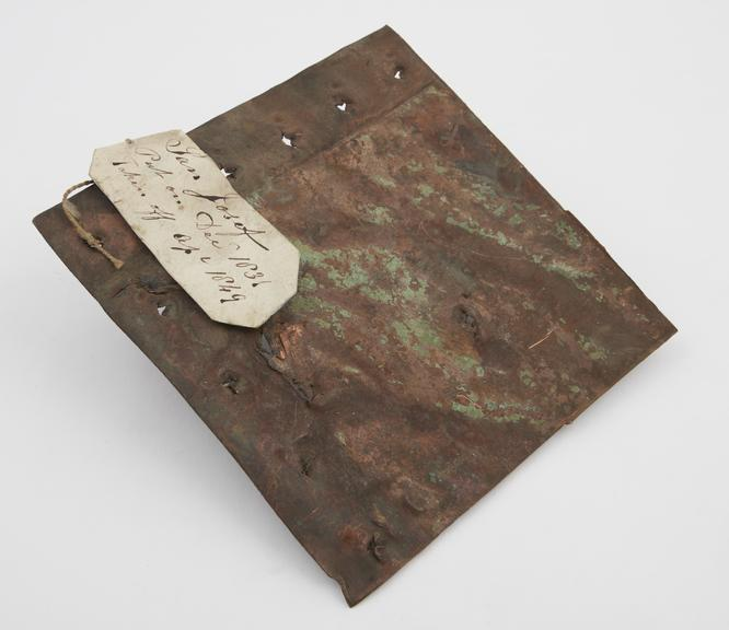 Copper sheathing from H.M.S. San Josef,' put on December 1831, taken off April 1849, presented by the Admiralty'