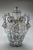Blue and white majolica pharmacy vase, 1730-1750. Front view. Grey background.