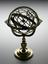 Ptolemaic armillary sphere. Full view, shilhouetted against graduated matt black perspex background.