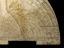 Islamic horary quadrant. Persian wooden horary quadrant (25-cm radius) with painted scales. Full view of quadrant,