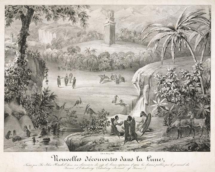 Copy of print. Nouvelles decouvertes dans la lune, Faites par Sir John Herschel, dans son observatoire du cap de