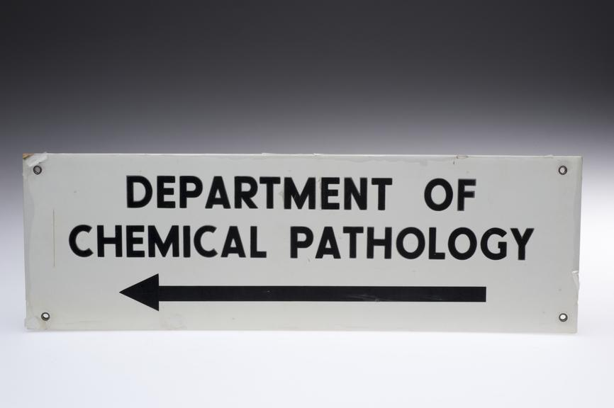 Rectangular sign for Dept. of Pathology, Liverpool Royal Infirmary, 1970-1980. Front view. Graduated grey background.