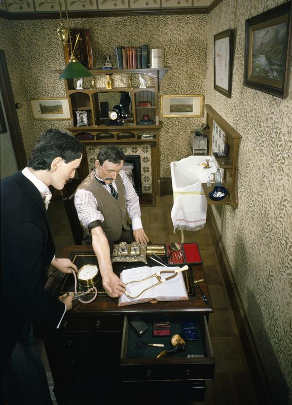 Consulting the doctor in 1900. Room set display in Lower Wellcome Gallery of the Science Museum