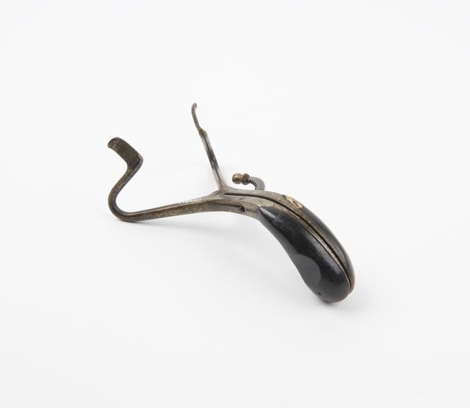 Buxton's mouth gag, nickel plated steel, with ebony handle, English, 1880-1910