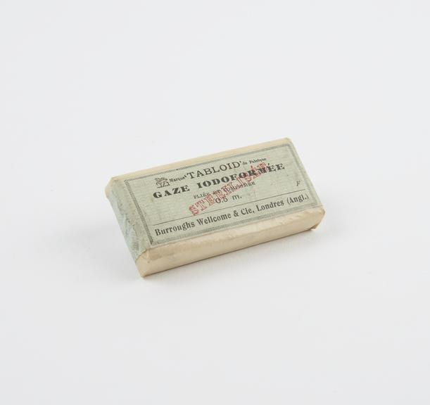 Packet of Tabloid' pleated compressed iodoform gauze, 0.5 metres, sterilised, by Burroughs Wellcome and Co., 1910-1930'